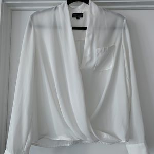 Topshop White Cowl Neck Blouse - Size 4 / Small